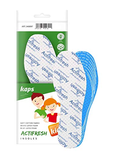 Cut To Fit Cut To Size Adjustable Soft Hygienic Kids Shoe Insoles With White & Blue Latex Foam Swiss Antibacterial Tehchnology by Sanitized | Excelent Air Circulation Kaps Actifresh Kids All Sizes