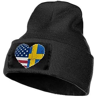 caldocaey Swedish USA Flag Heart Warm Knitting Hat Mens