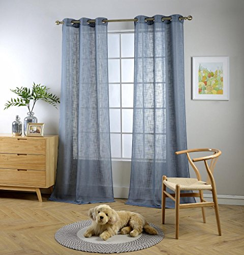 Miuco Semi Sheer Curtains Poly Linen Textured Solid Grommet Curtains 95 Inches Long for French Doors 2 Panels (2 x 37 Wide x 95
