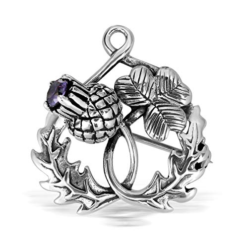 (WithLoveSilver 925 Sterling Silver Classic Scottish Style Thistle Heart Leaf Clover Simulated Cubic Zirconia Brooch )