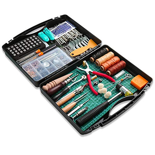 273 Pieces Leather Working Tools and Supplies with Leather Tool Box Cutting Mat Hammer Stamping Tools Needles Snaps and Rivets Kit Perfect for Stitching Punching Cutting Sewing Leather Craft - Kits Leather Belt