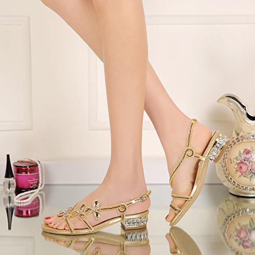 Gold Block Sandals Geminigirl Slingback Diamante Women's Jewelled Low Heel Shoes xzxRwHqCF