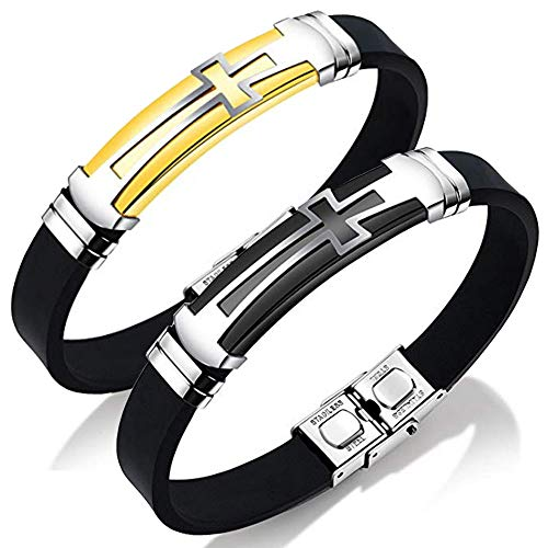Bracelets Steel Leather Stainless Rubber (JINGCI Cross Bracelets for Men, Stainless Steel Religious Bracelet with Silicone and Leather for Couples Boys and Man (2PCS-God+Black))
