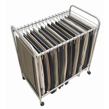Trolley Pant Rack Rolling Pants Closet Hanger Organizer Necktie Trouser  Rods Wheeled Steel As Seen On