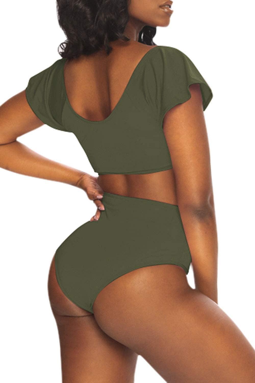 Viottiset Womens Retro Swimsuit Ruffle Short Sleeve Knot Front High Waisted Cheeky Padded Two Piece Bikini Set