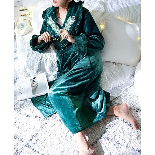Cinturón Green Con Bata Lujo Tamaño color De Baño Abrigo Green Metro Mujer Invierno Para Suave q0TxgUPTnw