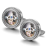 Dich Creat Mens Rhodium Plated Emboss Tourbillon Cufflinks Inlay Blue Crystals/Independent Serial Number