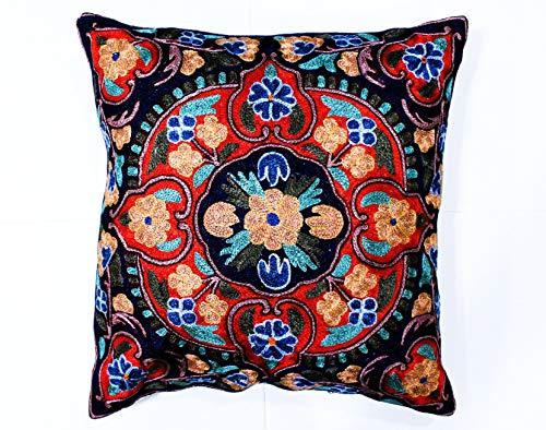 ZARMIN BEDDING ESSENTIALS Pillow Cover Elite Limited Collection of Kashmiri Hand Crafted Square Decorative 16 x 16 inch Cushion Covers for Indoor use on Bed or Sofa (Art 22 - DHAULAGIRI). Set of Two.