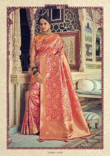 Designer New Party Wear Art Silk Saree Sari con Ceremonial Camicetta Piece of Traditional Bollywood Ethnic Clothing Abito per Donna Trendy Indian Women 8167