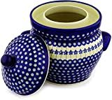 Polish Pottery Fermenting Crock Pot with Water Seal 1 Gallon Flowering Peacock