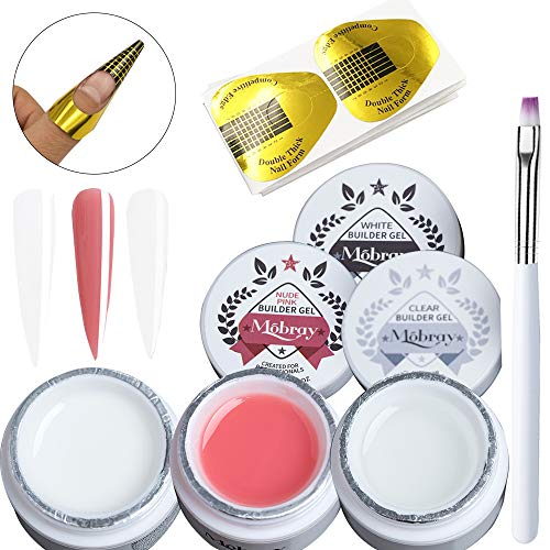 3 Colors Builder Gel Nail Kit, Clear White Nude Pink UV Poly Gel Nail Extension Acrylic Nail Art Kit with Nail Forms Painting Brush Pen