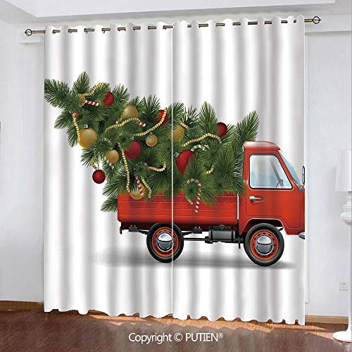 Satin Grommet Window Curtains Drapes [ Christmas,Red Retro Farm Truck and Big Christmas Tree with Decor Tinsel Balls Candy,White Red Green ] Window Curtain for Living Room Bedroom Dorm Room Classroom]()