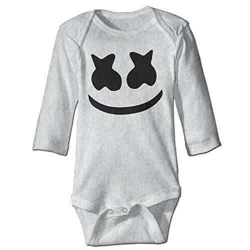 (Cute Marshmello Face Unisex Baby Infant Long Sleeve Bodysuits Creeper In 3)