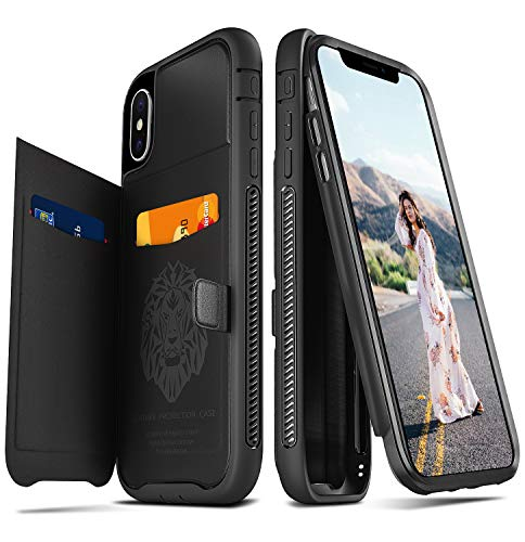 - Ansiwee iPhone Xs Max Case, Luxury Cool Protective Black Leather 6.5 Inch iPhone Xs Max Case Wallet for Men Women with Stand Holder Card Slot Magnetic Car Mount (Black)