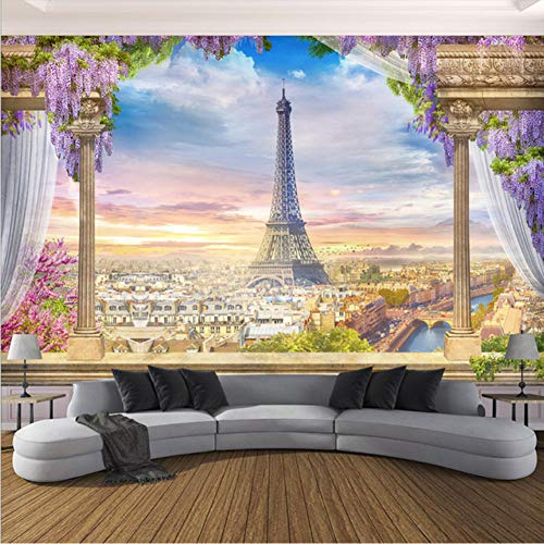 Paris Murals - xbwy Custom Photo Wallpaper 3D Stereo Rome Column Paris Tower Murals Restaurant Living Room Bedroom Backdrop Wall Decor 3 D-120X100Cm