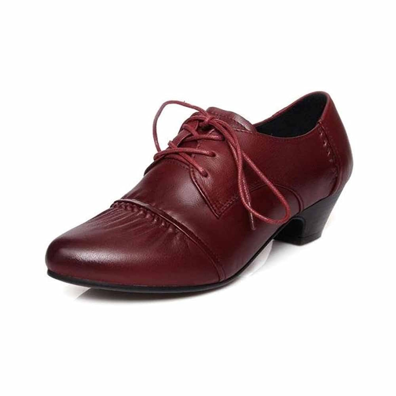 Fulinken 3 Color New Genuine Leather Dress Low Heels Cap Toe Ladies Womens Shoes