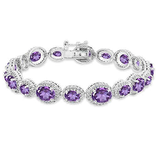 Sterling Silver African Amethyst & White Topaz Oval Halo Statement Bracelet
