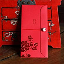 Hotstar Red Envelopes Traditional Chinese Wedding, Porcelain Bead and Peony Design, New Year Gifts, Red Packets Pack of 10