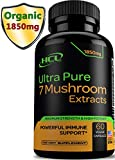 Organic Mushroom Supplement Extracts - Strong Immune System Booster & Brain Supplement Complex of Lions Mane Cordyceps Chaga Reishi Turkey Tail Maitake Shiitake Capsules – Stress Relief Memory Pills