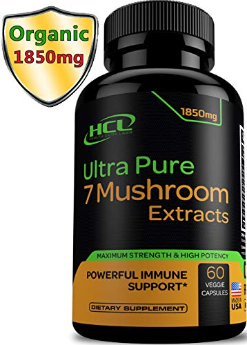 - Organic Mushroom Supplement Extracts - Strong Immune System Booster & Brain Supplement Complex of Lions Mane Cordyceps Chaga Reishi Turkey Tail Maitake Shiitake Capsules - Stress Relief Memory Pills