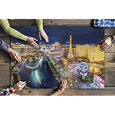 Las Vegas, Nevada - Aerial View of The Strip at Night 9034574 (Premium 1000 Piece Jigsaw Puzzle for Adults, 20x30, Made in USA!): Toys & Games