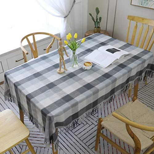 ZHAS Estovalles de cotó, roba de llit aïllada de pols, Simple estovalles grisa Elegant, estovalles, tapís rentable, per a decoració de taula de cuina (Mida: 130 180 cm) (Skins Passt)