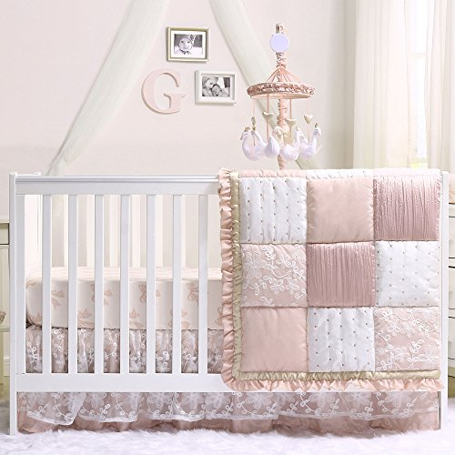 Grace 6 Piece Baby Girl Dusty Pink Crib Bedding Set by The Peanut Shell