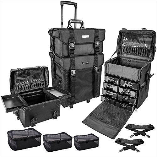 SHANY Cosmetics 2 Compartment Soft Black Rolling Trolley Makeup Case with Free 3 Piece Organizer Mesh Bags, 28 Inch by SHANY Cosmetics