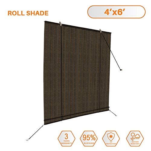 TANG Sunshades Depot Exterior Roller Shade for Deck Porch Pergola Balcony Backyard Patio or Other Outdoor Spaces Blinds Light Filtering Block 90% UV Rays Brown 4' x 6' (48'' x 72'') (Porch Pergola)