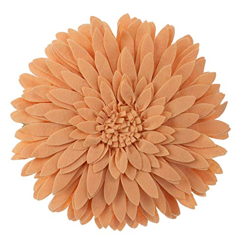 Elegant 3D Sunflower Throw Pillow - Round 13 x 13 Decorative Throw Pillow - Peach Accent Pillows for Couch, Bedroom And Living Room Decor - Sunflower Decorative Pillows With Case And Insert (Decorative Pillows Peach)