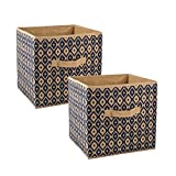 DII Fabric Storage Bins for Nursery, Offices, Home Organization, Containers are Made to Fit Standard Cube Organizers (11x11x11) Ikat Nautical Blue - Set of 2