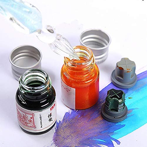 Connoworld 24 Colors Calligraphy Writing Painting Fountain Pen Ink with Glitter Powder School Office Supplies(5ML) T by Connoworld (Image #3)