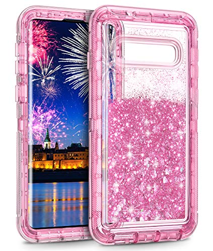 Wollony Galaxy S10 Case,Heavy Duty Liquid Glitter Quicksand Case for Samsung Galaxy S10 Full Body Shockproof Hard Bumper + Non-Slip Soft Clear Rubber Protective Cover (Pink)