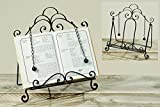 Whole House Worlds The Gastro Chic Cook Book Stand, Artisinal Design, Weighted Drop Chain Page Holders, Iconic Scroll Work Details, Easel Back, 12 1/2 Inches Tall, By