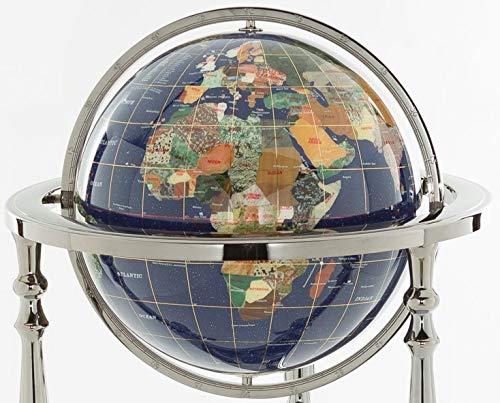 "13"" Kalifano Gemstone Globe with Lapis Ocean on 37"" Ambassador 3-Leg High Stand"