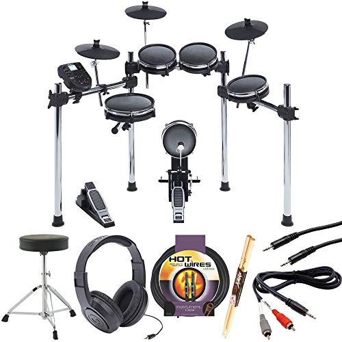(Alesis Surge Mesh Kit Eight-Piece Electronic Drum Kit with Mesh Heads + Headphones + Throne + Instrument Cable, 10 ft. + Hosa Stereo Interconnect Cable & Dual RCA Adapter Cable + Pair Of Drum Sticks)