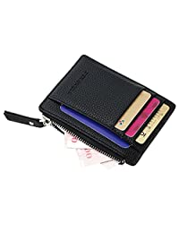 Badiya Slim Mini PU Leather Front Pocket Wallet with Zipper Unisex Coin Purse