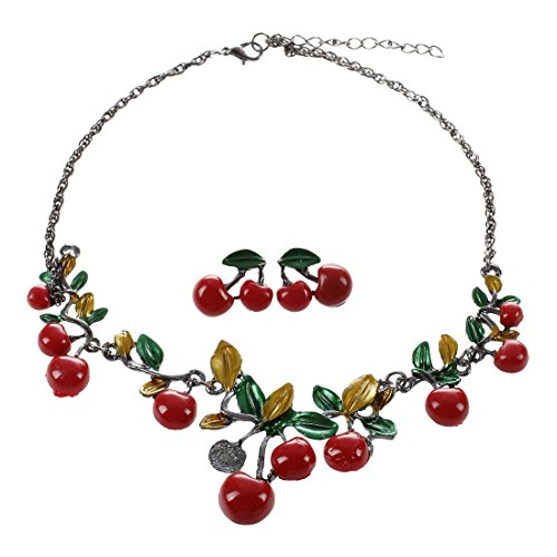 SODIAL(R) Trendy Women Party Jewelry Set Cherry Leaf Shape Sweet Female Stud Earring Choker Statement Necklace Collar (Color: Red)