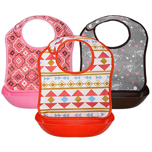 Ava & Kings 3pc Girls Foldable Waterpoof Baby Bibs With Detachable Food Catcher