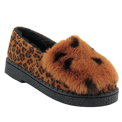 Women's Faux Fur Leopard Printed Comfort Warm Loafer Flats