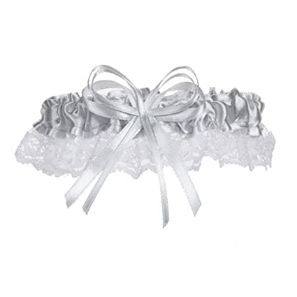 05110fa6f6e Amazon.com  1 Beautiful Silver Satin and Lace Wedding Garters Garter Bride  Prom Homecoming (1 Garter)  Beauty