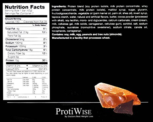 ProtiWise - Caramel Delight High Protein Diet Bars PACK OF 7 1.48 OZ BARS