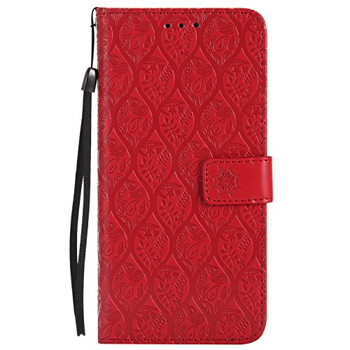 Wallet Leather Case for Motorola Moto G6 2018 release, Embossed Bohemia Flip Case with Card slots/Strap, 360 Full Body Protective Kickstand Magnetic Folio Case Cover for Moto G6 (Red) - Icon Womens Wallet