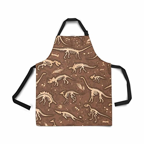 (InterestPrint Silhouettes Dino Skeletons Dinosaurs Fossils Adjustable Bib Apron for Women Men Girls Chef with Pockets, Novelty Kitchen Apron for Cooking Baking Gardening Pet Grooming Cleaning)