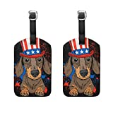 Travel Luggage Tags Dog With Hat PU Leather Baggage Suitcase Tag Identify 2 Pieces Set