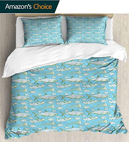 shirlyhome Shark Full Queen Duvet Cover Sets,Sea Creatures in Vintage Style Swimming Flatfish Stingray and Jellyfish Bedding Set for Teen 3PCS 87
