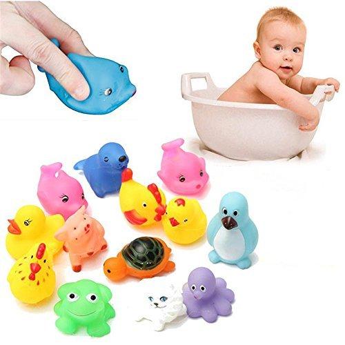 Vktech® 13Pcs Cute Soft Rubber Float Sqeeze Sound Baby Wash Bathtub Play Animals Toys