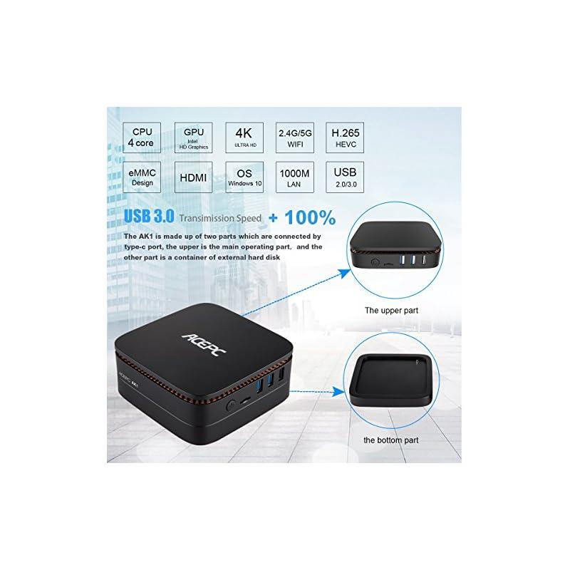 ACEPC AK1 PRO,Mini PC Intel Celeron Processor J3455 Windows 10 Pro (64 bit)  Desktop Computer [4GB/32GB/Support 2 5
