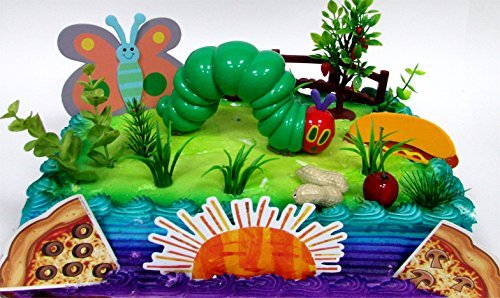 VERY HUNGRY CATERPILLAR 20 Piece Birthday CAKE Topper Set, Featuring the Very Hungry Caterpillar and Decorative Themed Accessories