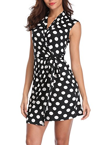 MISS MOLY Wrap Dress Women's Polka Dots Crossover V-Neck Sleeveless Above Knee Wrap Dresses (Small(US-6), Black (Dress Wrap Tie)